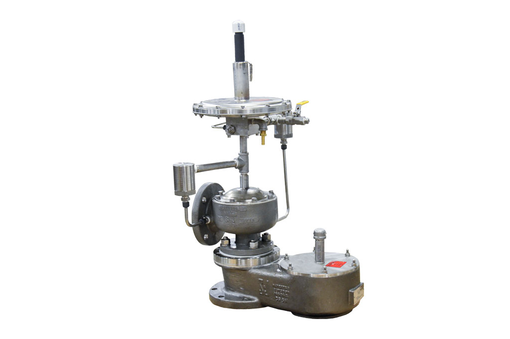 Photo of Pilot-Operated Relief Valve and the Weight Loaded Vacuum Relief Vent