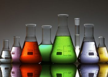 Photo of chemical in beakers