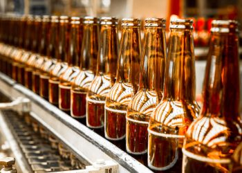 Photo of empty bottles at a bottling plant